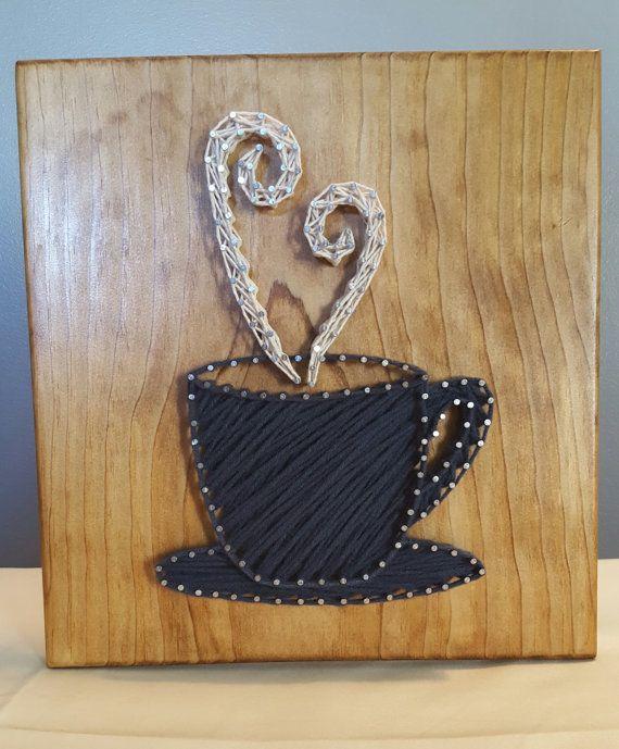 Coffee Cup String Art, Handmade #coffeecup