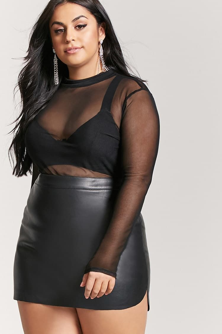 b32cf9e491c194 Product Name:Plus Size Faux Leather Mini Skirt, Category:CLEARANCE_ZERO,  Price:15.9