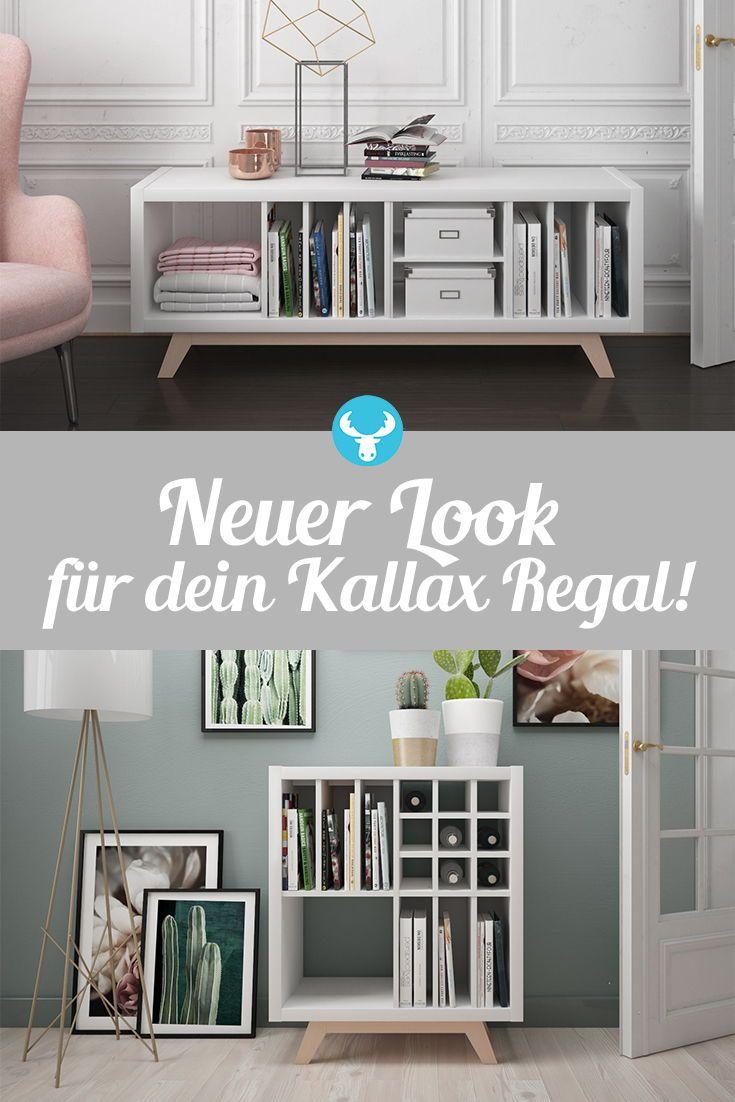 Kallax Regal Untergestell aus Holz schräge Füße | Kallax
