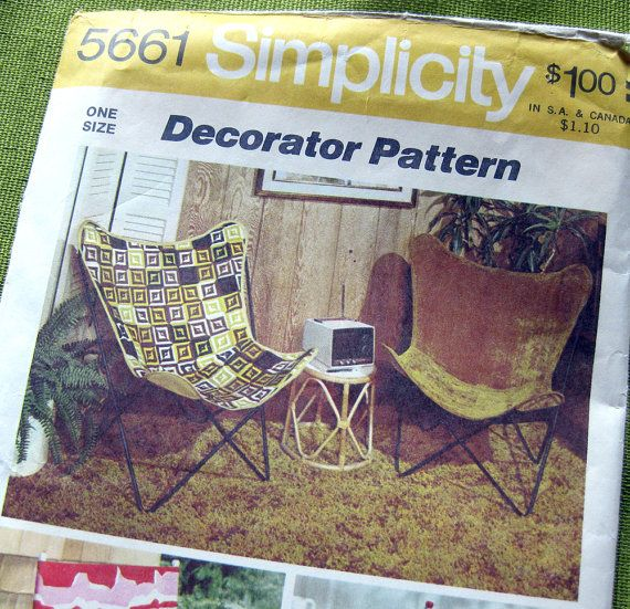 Vintage 1970s Simplicity 5661 Sewing Pattern   Slip On Covers Butterfly Chair  Directors Chair / One Size   UNCUT FF