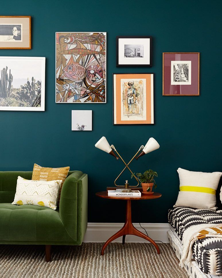 """""""We are digging #TouraineNo108's lush green/teal living room wall! 🌿🌿🌿Check out the rest of the…"""""""