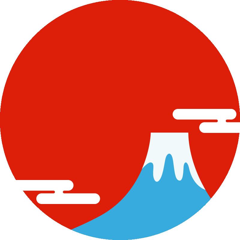 富士山と初日の出の丸型フレーム枠イラスト 赤 日本の