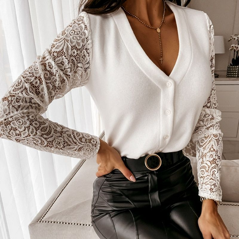 Elegant Solid Womens New Casual Loose Blouse Floral V Neck Pullover Fashion