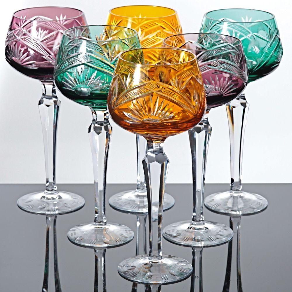 Weingläser Rot 6 bunte weingläser römer kristall gläser buntglas farbglas schliff