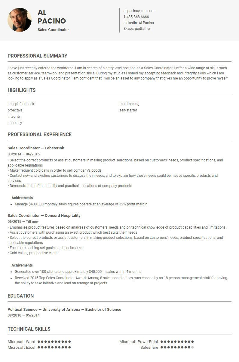 sales coordinator resume sample template by skillroads https