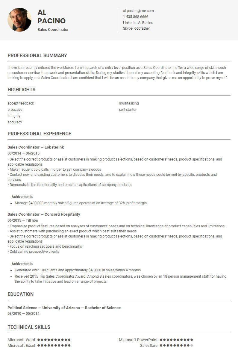 Sales Coordinator Resume Sample Template By Skillroads Https Skillroads Com Sample Sales Coordinator Cv Resume Sample Resume How To Apply