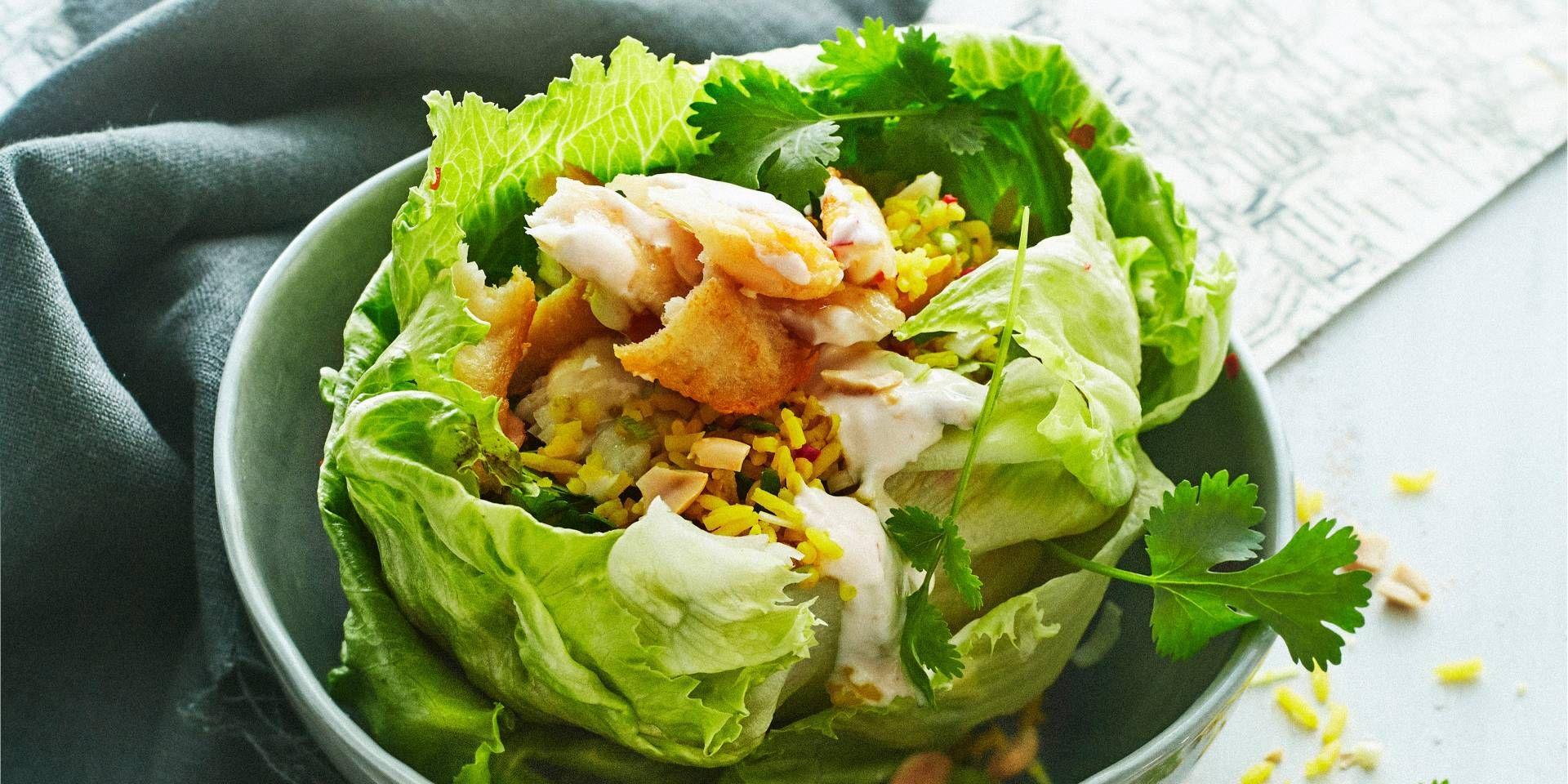 Boodschappen - Slakommetjes met pikante rijst en pulled pangasius
