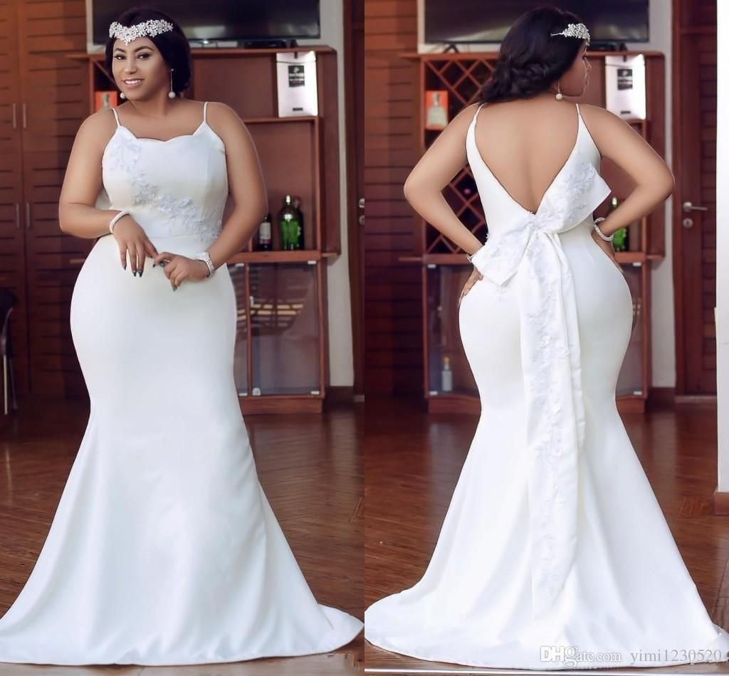 Plus Size Ivory Mermaid Bridesmaid Dresses Spaghetti Backless Appliques Garden Country Mermaid Bridesmaid Dresses Beach Bridesmaid Dresses Trumpet Wedding Gown