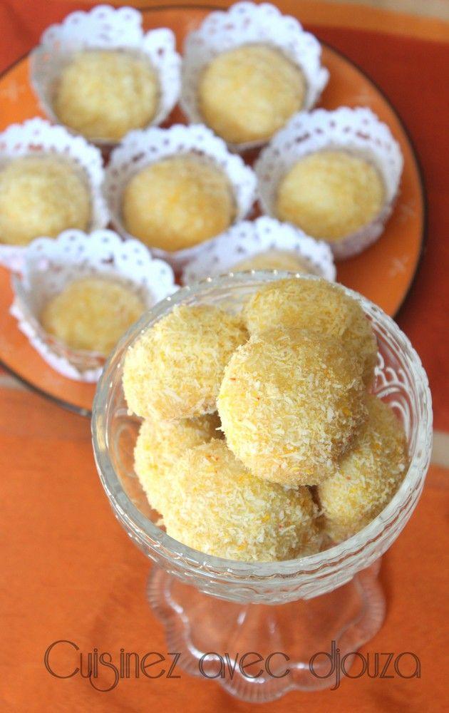 biscuit sec algérien  boules de neige ou boule de coco revisitées  ces  biscuits au citron confit trempés dans un sirop sont roulés dans la noix de  coco