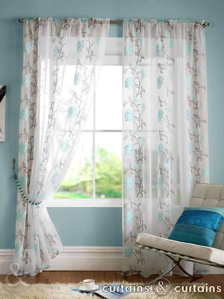 Teal Blue Floral Slot Top Voile Curtain Panels Teal Curtains Living Room Curtains And Teal