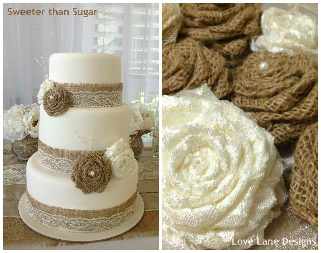 fake wedding cakes Hessian and lace themed wedding cake I had on display at the latest wedding expo