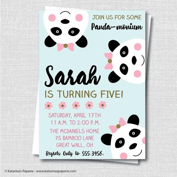 Girl Panda Bear Birthday Invite Panda Birthday Spring Birthday – Free Digital Birthday Invitations