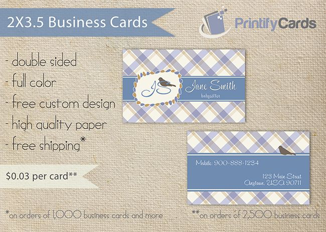 Babysitting Business Cards Www Printifycards Com Printifycards Business Cards Babysitting Cards