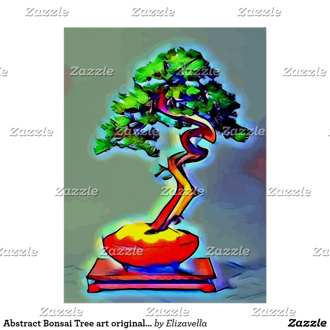 Abstract Bonsai Tree art original nature pop trees Poster