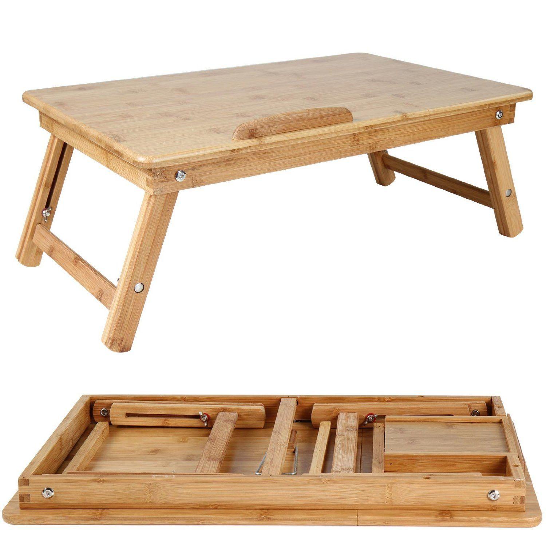 Table De Lit En Bambou Plateau Inclinable Pour Pc Portable Tiroir Lateral 55x35x29 Cm Lxlxh Amaz Table De Lit Meubles En Bois De Palettes Lit Bambou