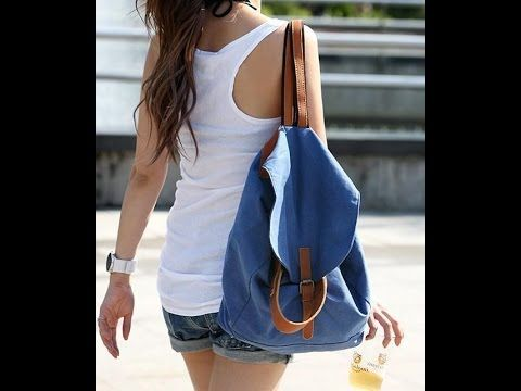 Diy How To Make Backpack Knapsack From Old Jeans Canvas Backpack Women Womens Fashion Preppy Recycled Denim