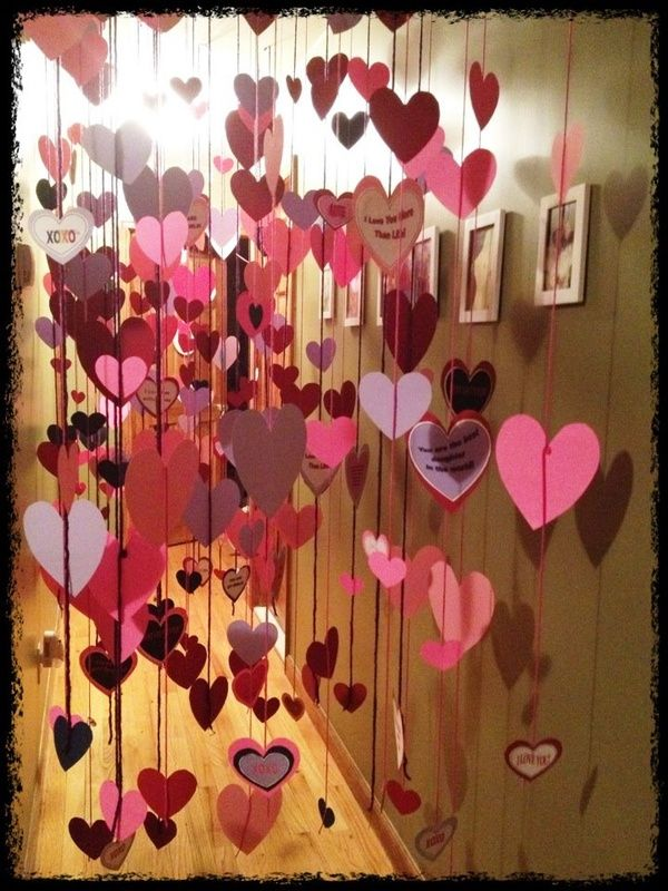 Hearts hung in the hallway as a Valentines morning wake up surprise. Hearts filled with love messages like: You are my sunshine, you are the best gift ever, I love you, I am the luckiest mommy in the world, Best.Kid.Ever!, best gift ever, you are the cutest thing ever, xoxo, Happy Valentines Day, etc. Since I can't do balloons for his birthday, this might be an awesome alternative!