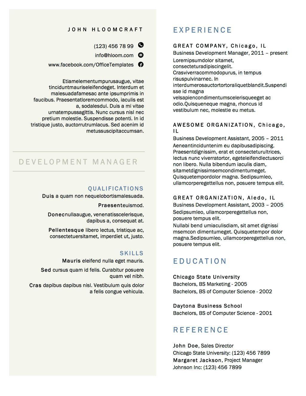 Free 2 Column Resume Templates Resume design free