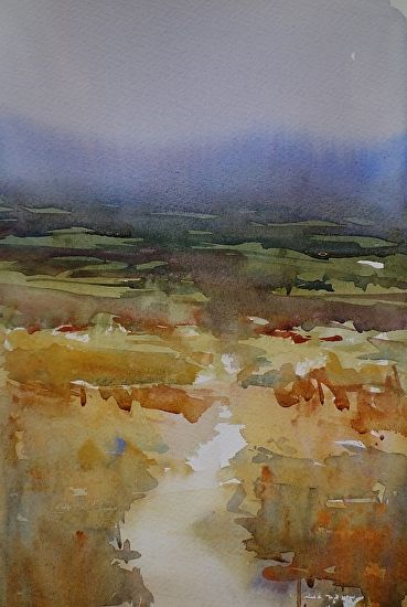 Far afield by Sarah Yeoman Watercolor ~ 14 x 11