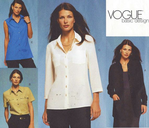 Plus Size Vogue Sewing Pattern 2634 Womens Classic Button Front ...