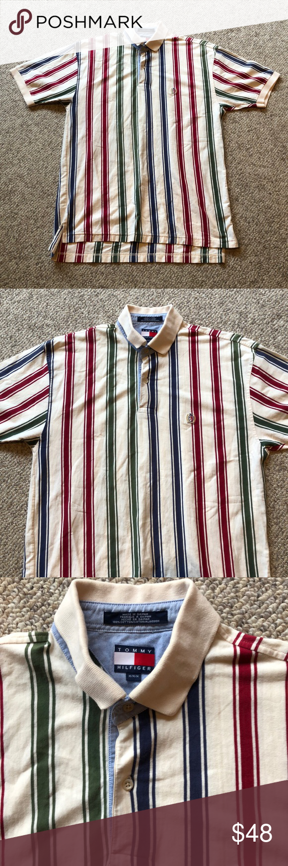 86a5ac730 Vintage Tommy Hilfiger stripped logo Polo shirt L This nice Vintage Tommy  Hilfiger striped logo polo