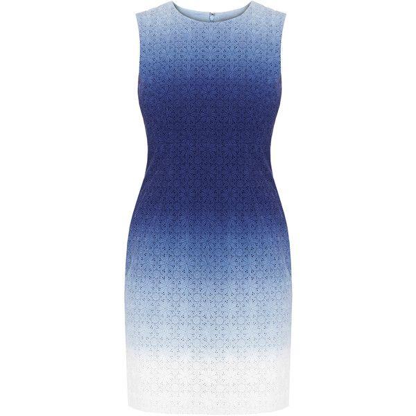 Diane von Furstenberg Kedina Blue Ombre Broderie Anglaise Mini Dress ($180) ❤ liked on Polyvore featuring dresses, blue, fitted dresses, blue dress, ombre dress, sleeveless short dress and cotton dresses