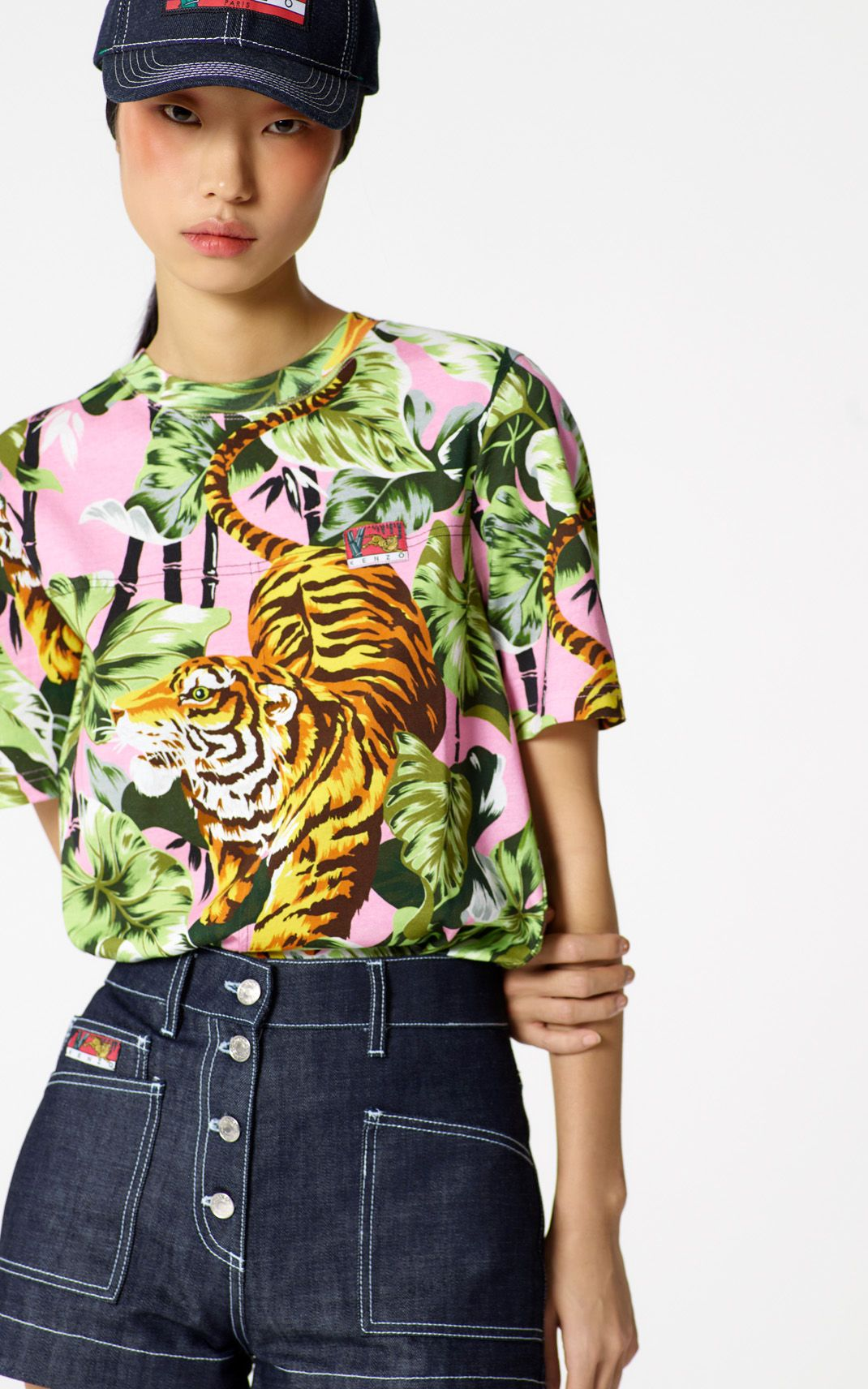 68af57d688 FLAMINGO PINK 'Bamboo Tiger' t-shirt for women KENZO | Daily ...