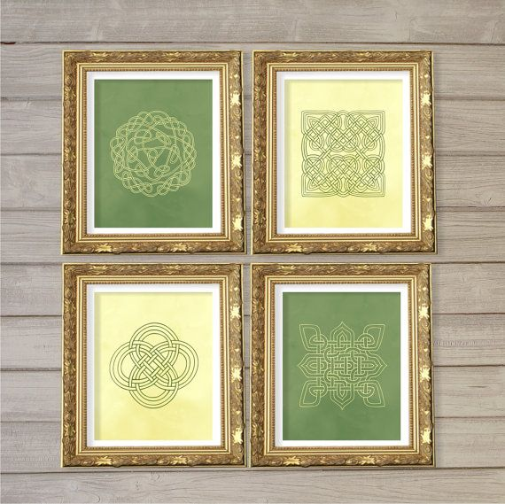 Celtic Knot Design Printable Wall Art Green & Cream Set of 4-8x10 ...