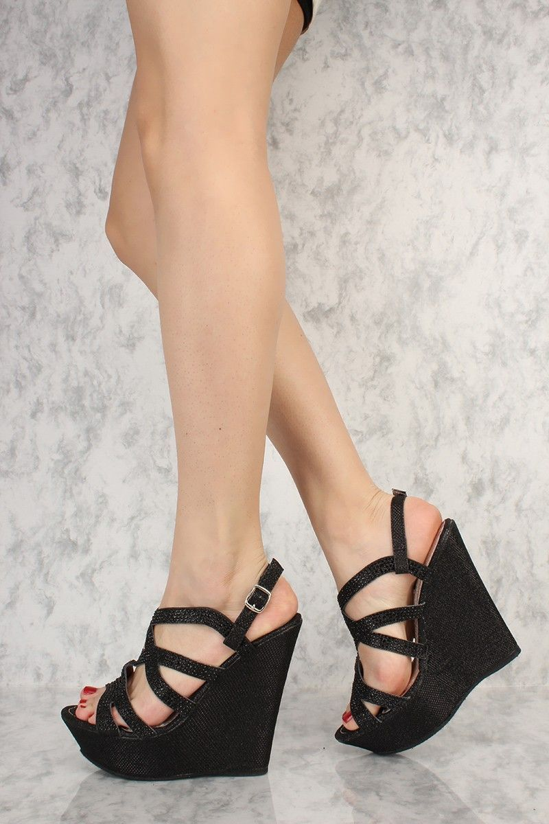 ef9c5e23698225 Black Strappy Shimmer Rhinestone Accent Open Toe Platform Wedges Faux  Leather