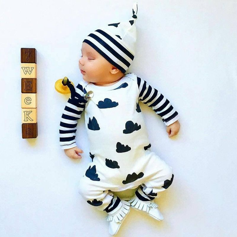 e32fc9c06787 Baby Boy s Long Sleeve Black   White Clouds One Piece Romper ...
