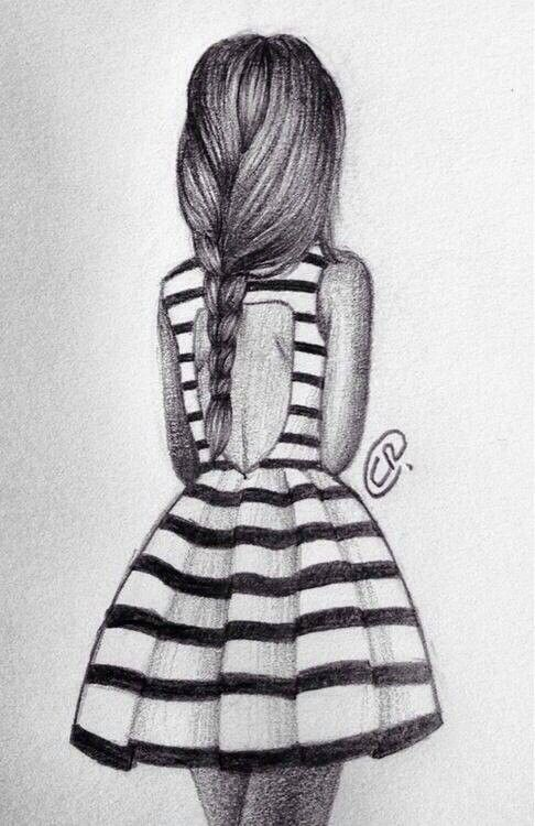 15+ Best New Alone Girl Simple Drawings Of Girls In Dresses