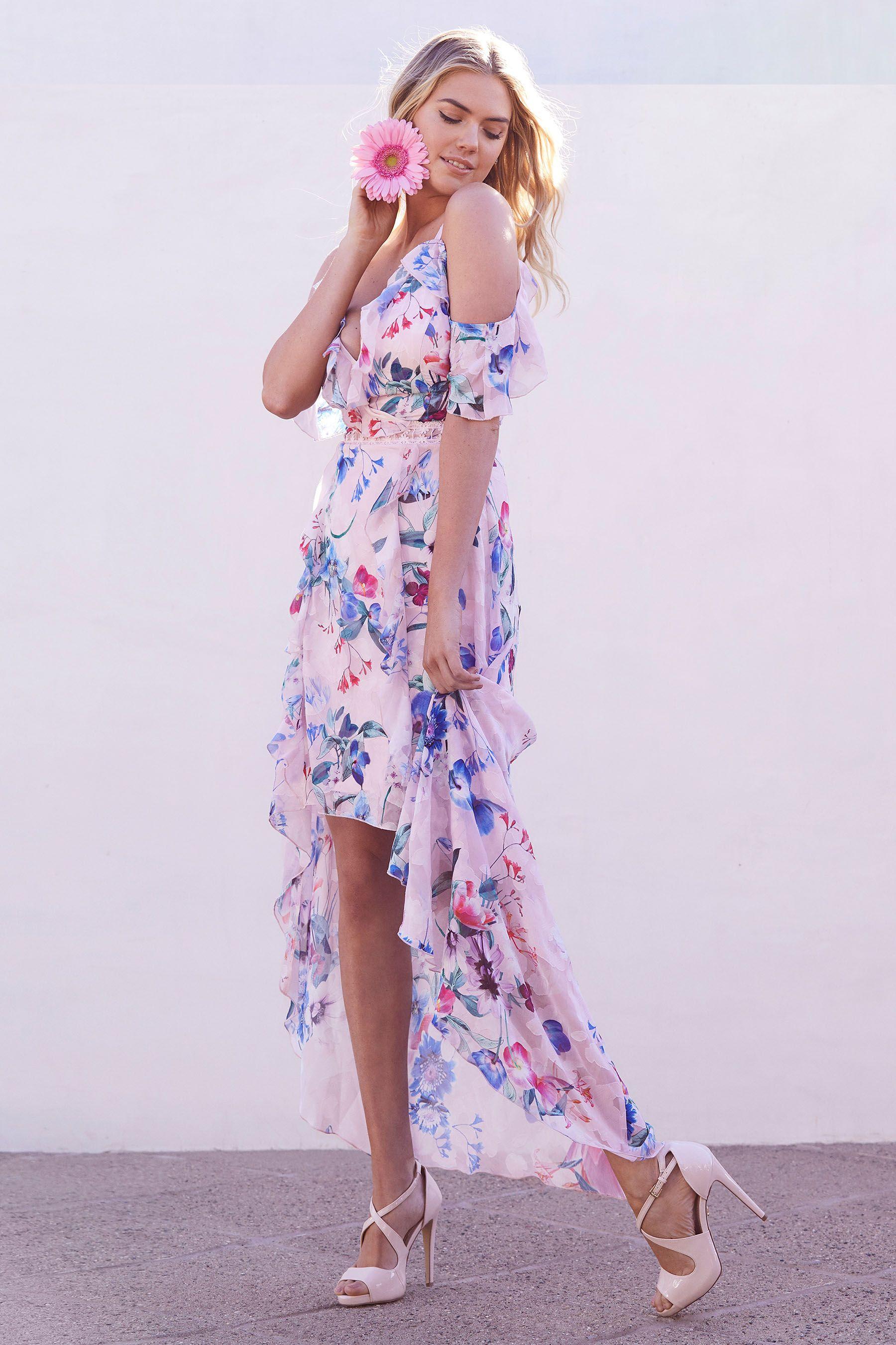 9fc721a452 Womens Lipsy Print Frill Hi Low Dress - Pink   Fashion in 2019 ...