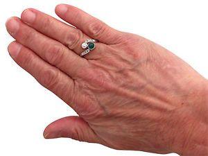 0-48ct-Emerald-amp-0-27ct-Diamond-18ct-White-Gold-Twist-Ring-Antique-Size-L1-2