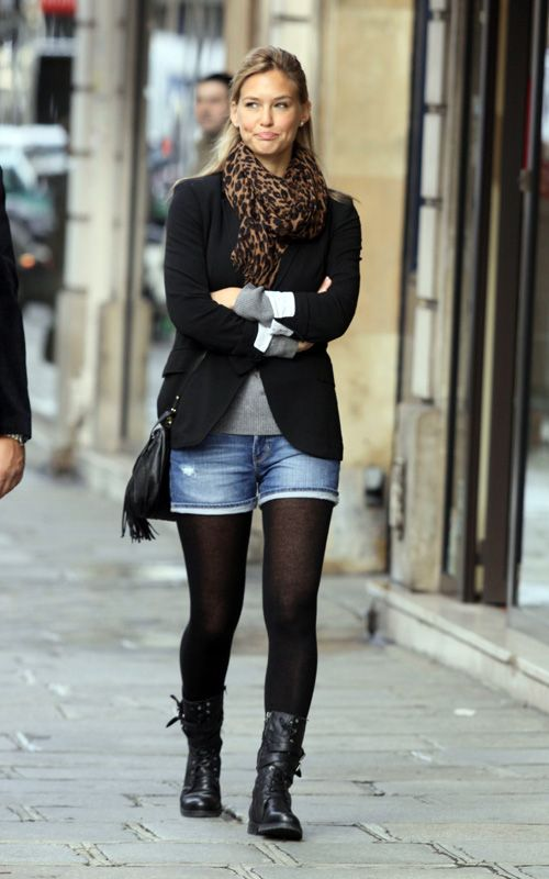 Jean shorts with tights and boots - tshirt with blazer   Fall ...