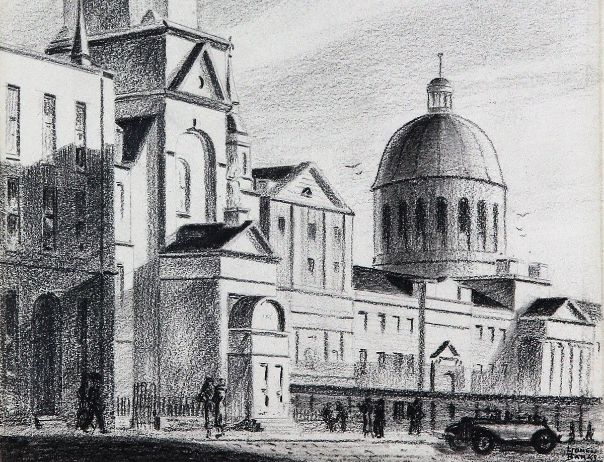 This rendered charcoal piece uses shading to define each edge. The figures highlights the scale of the buildings.