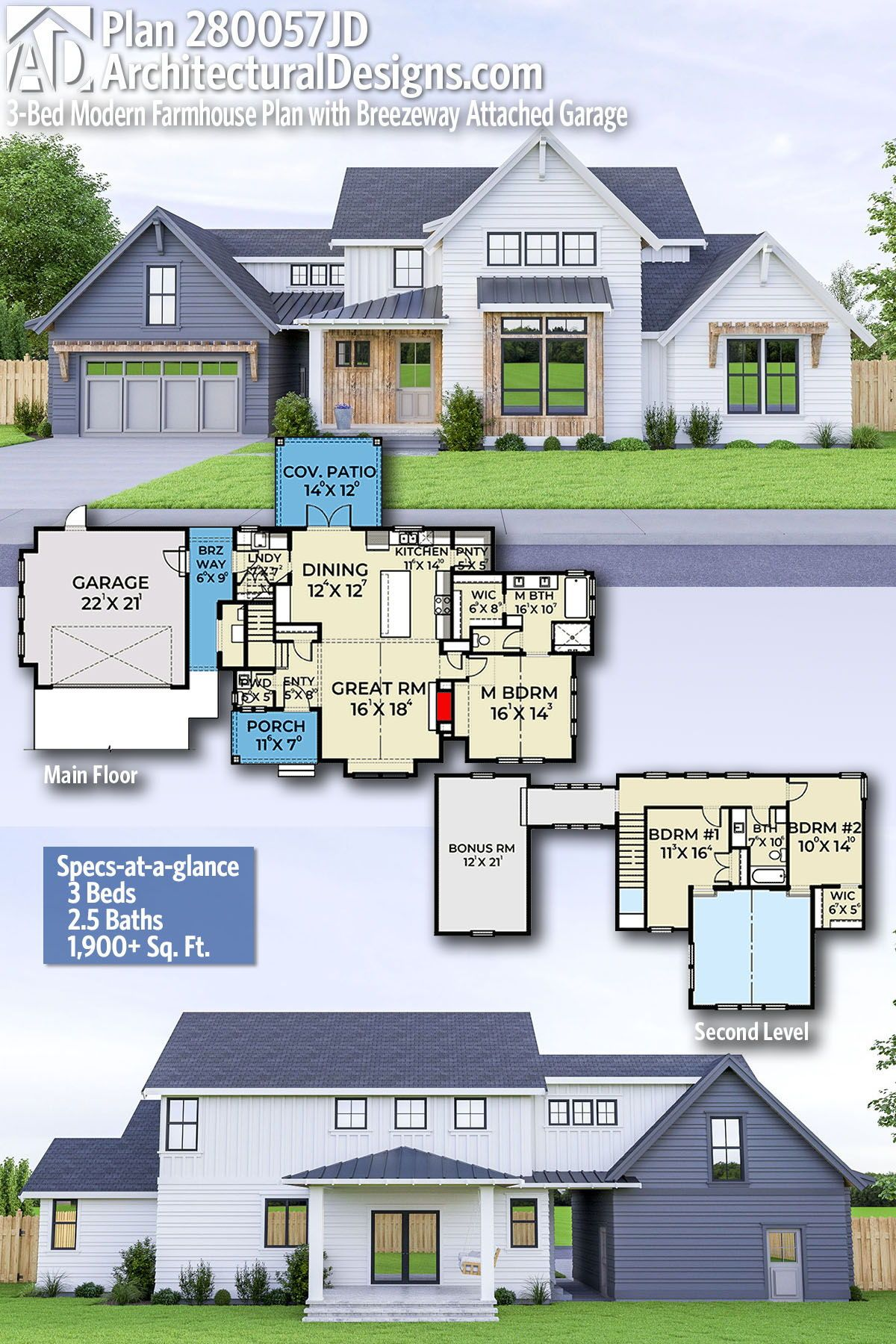 Plan 280057jwd 3 Bed Modern Farmhouse Plan With Breezeway Attached Garage Modern Farmhouse Plans Farmhouse Plans Farmhouse Floor Plans