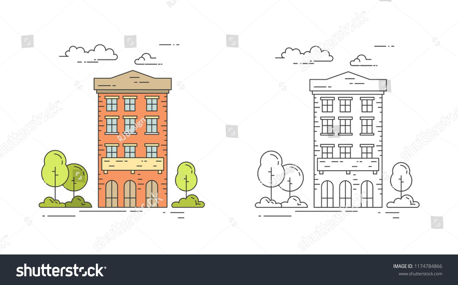 City Line Vintage House Vector Illustration Set With Multi Storey Apartment Building With Trees And Clouds In Colorf Vintage House Outline Designs House Vector