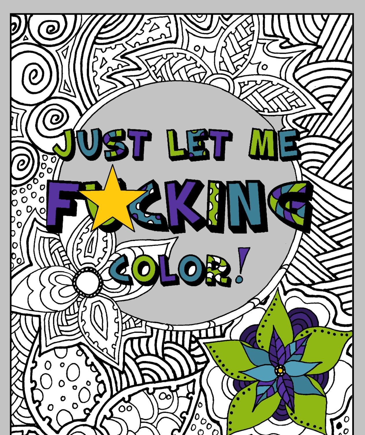 Swear word coloring pages etsy - Swear Words Adult Coloring Book Hate Your Job Printable Instant Download Sweary Coloring
