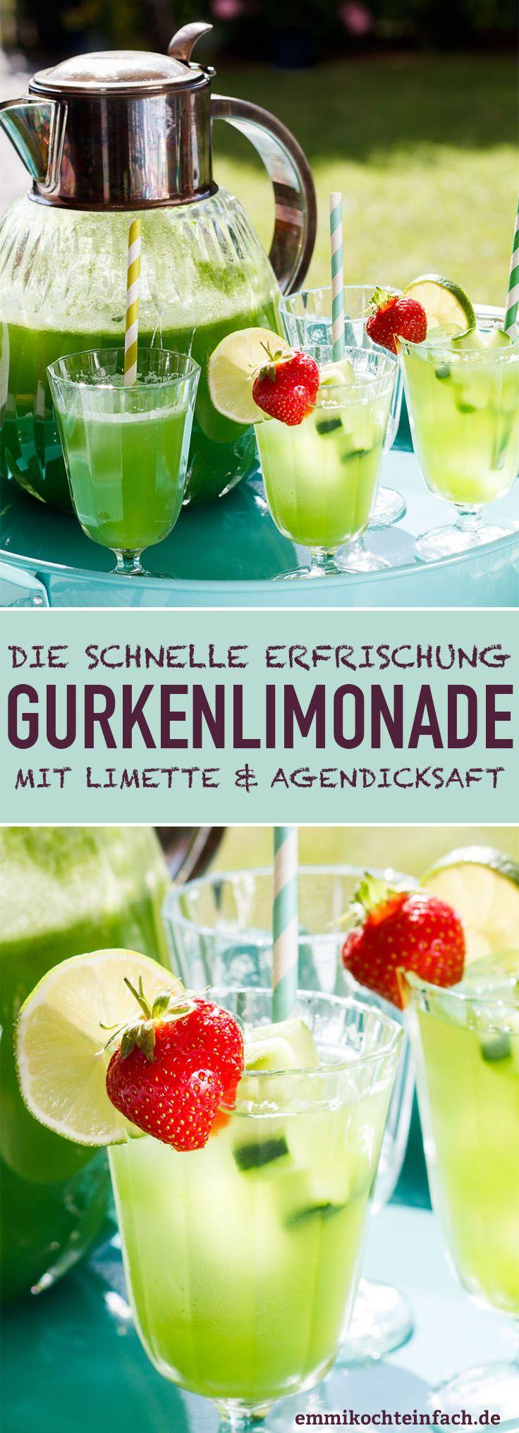 Gurkenlimonade mit Limette und Agavendicksaft #lemonade