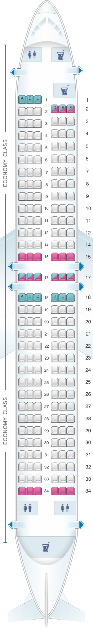 Seat Map SunExpress Boeing B737-800 | Boeing, Airlines, Airbus