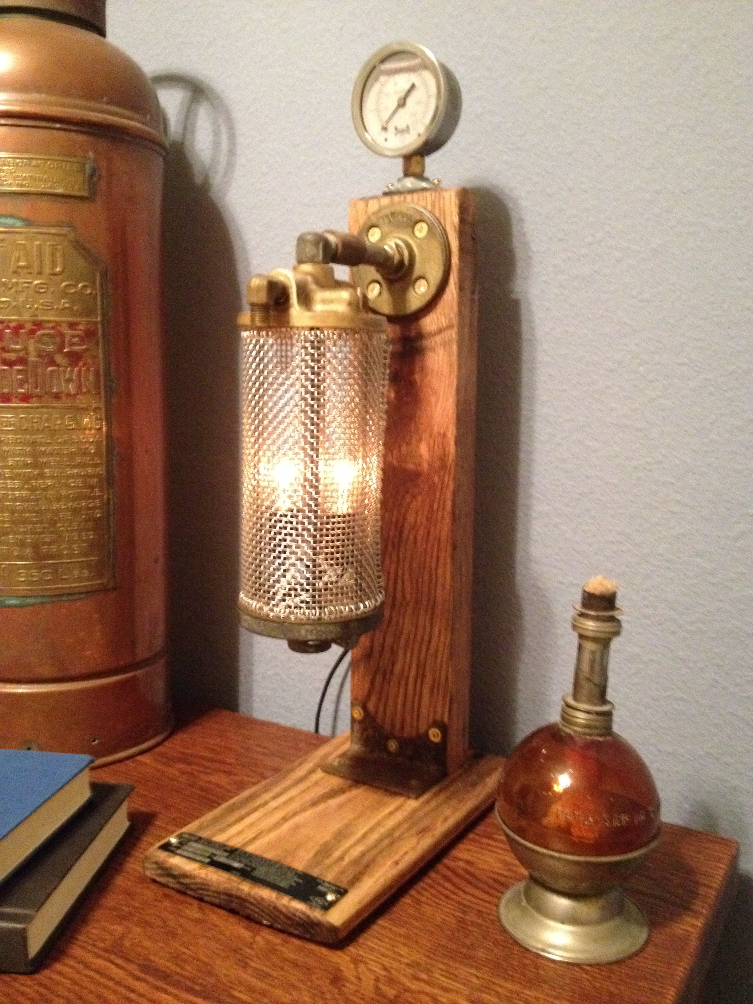 Steampunk cage lamp with pressure gauge made from reclaimed oak pallet wood and industrial machine parts