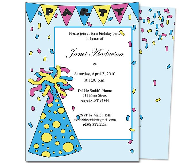 Kids Party  Partyhat Kids Birthday Party Invitation Template