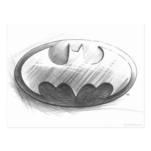 batmansymbol insignien zeichnend logo postkarte  zazzle