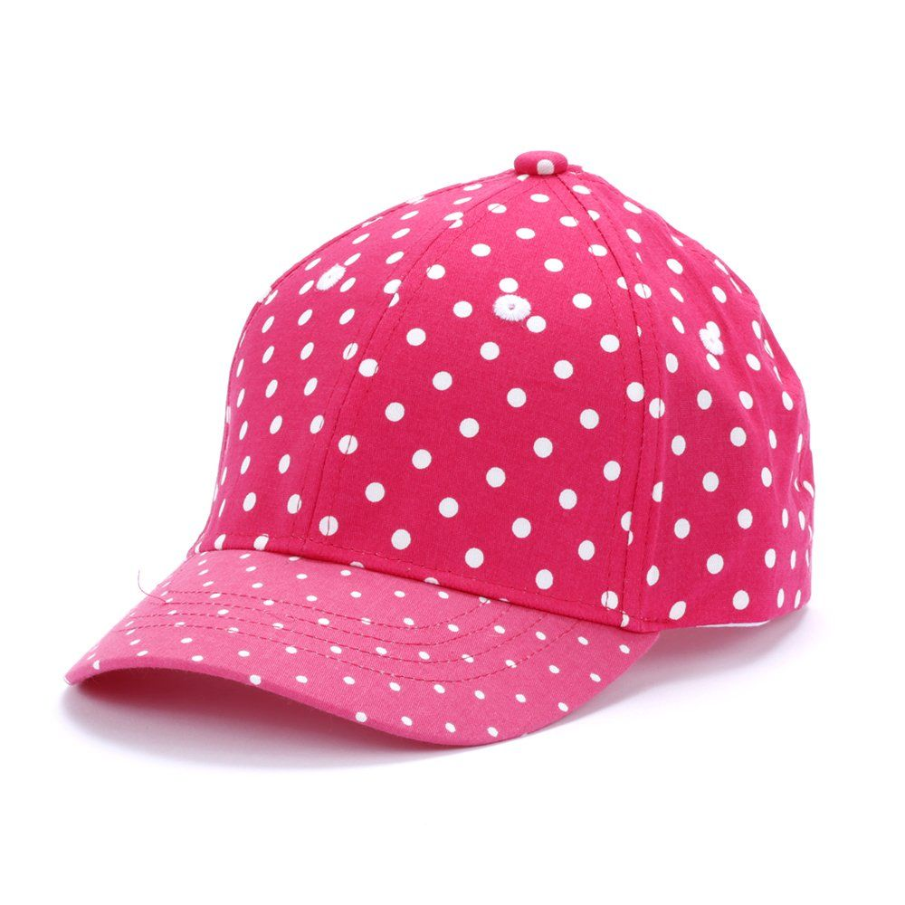 bd7e6635ec2 Girls Fun Polka Dot Baseball Cap - Berry Pink - M ( 2-6Y). 100% Cotton.  Adjustable belt closure - Varies by Style. Care  Hand Wash Only. Hang Dry.  Imported.