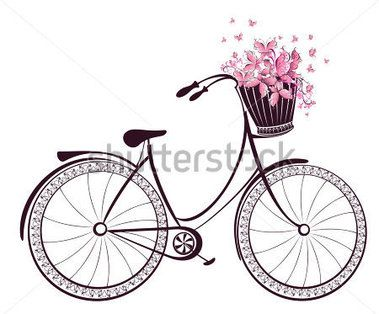 Bicycle With A Basket Full Of Flowers And Butterflies Stock Vector
