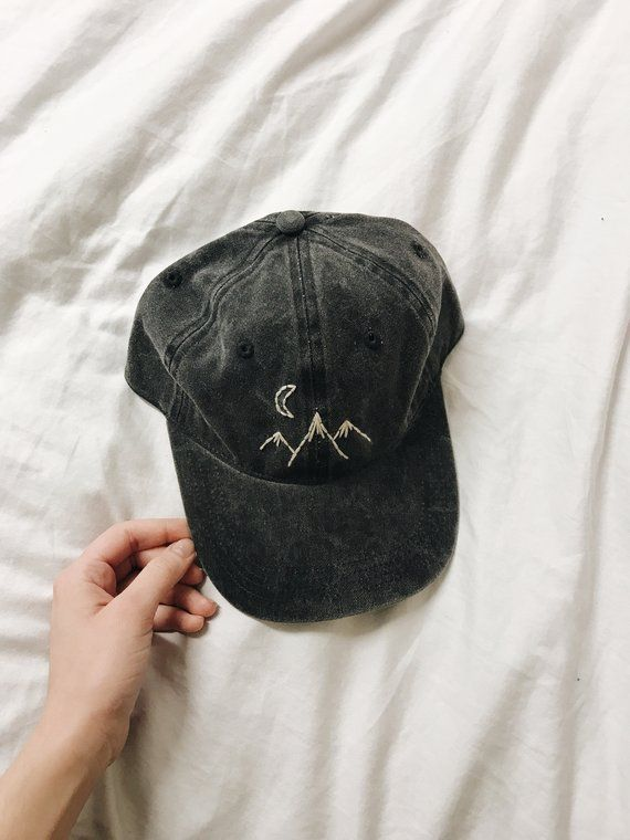 Mountains Away Hand Embroidered Hat In 2020 Embroidered Hats Hat Embroidery Embroidered Clothes