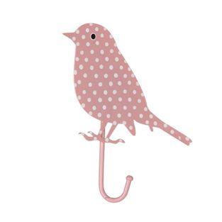 RJB Stone kapstokje vogel stippen roze