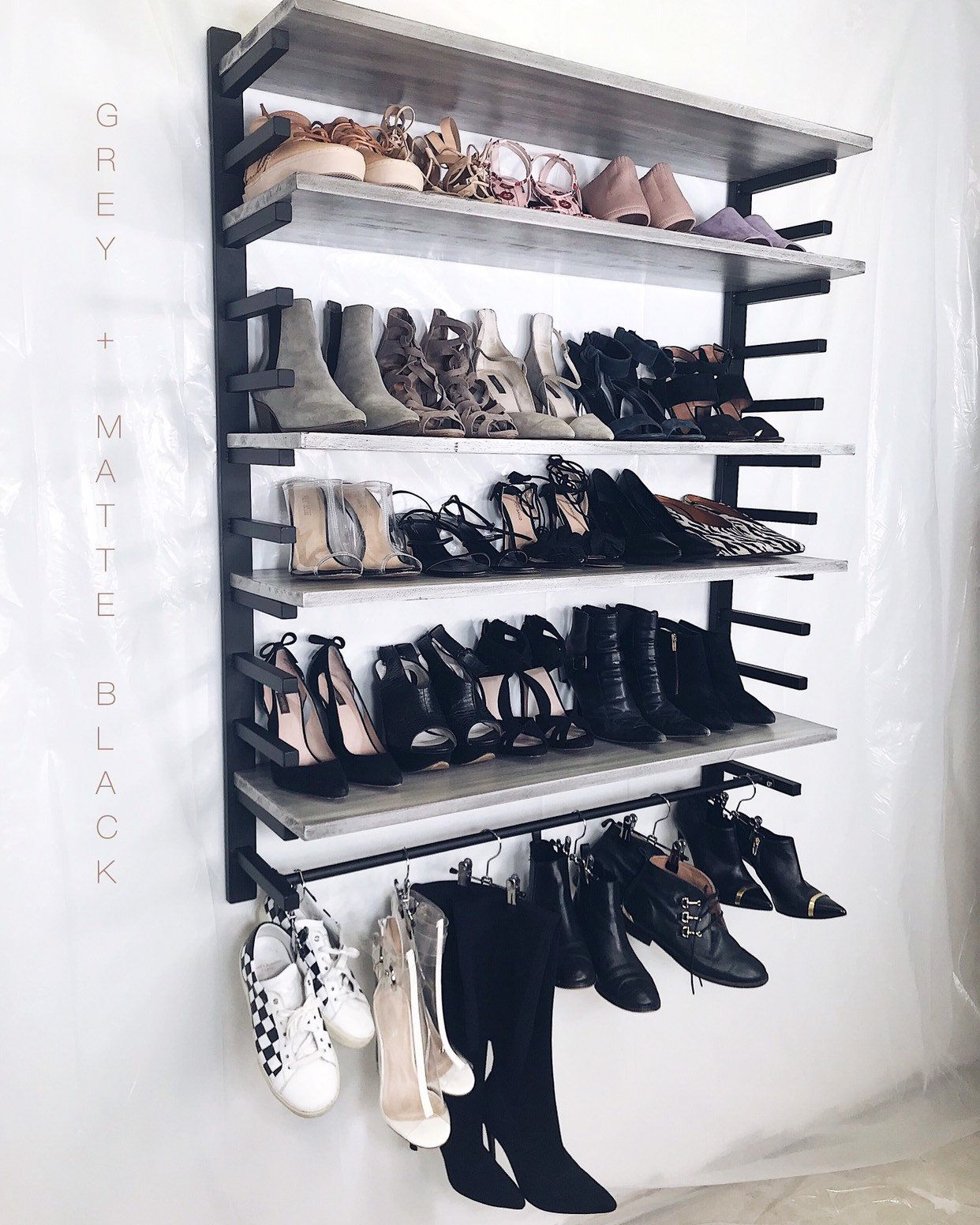 Grey Black Metal Wall Mounted Shoe Organizer With Boot Hanger By Bleachla On Etsy Https Www Etsy Com Listing 6801389 Boot Hanger Shoe Organizer Metal Walls