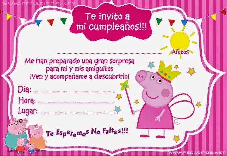 Resultado De Imagen De Invitaciones De Peppa Pig Para Editar