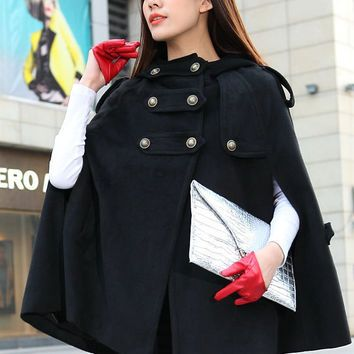 Double Breasted Hooded Cape Black Winter Coat Women Cape Coats ...